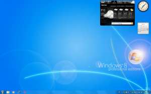 Windows 7 Desktop mit Windows 8 Hintergrund