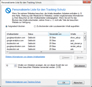 Internet Explorer 9 Tracking-Schutz
