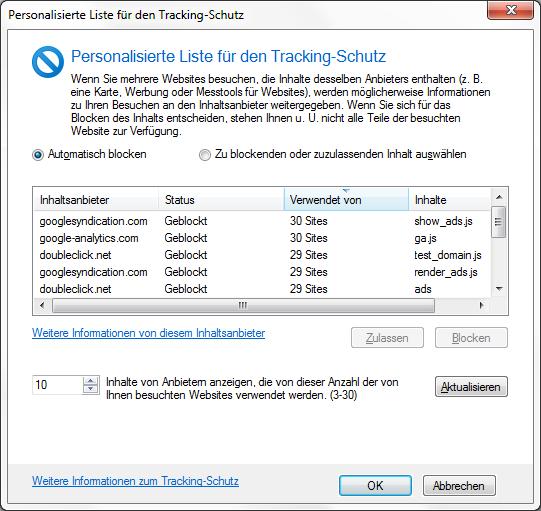 Internet Explorer 9 Tracking-Schutz