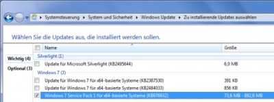 Automatische Installation des Windows 7 Service Pack 1
