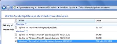 Automatische Installation des Windows 7 Service Pack 1