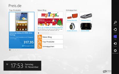 Die Startseite der preis.de-App
