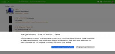 Nachricht zum Umstieg auf SkyDrive bei der Anmeldung zu Windows Live Mesh