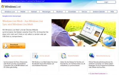 Auch die Windows Live Mesh Webseite ist noch online (15.01.2013)