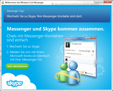 Meldung im Messenger zum Umstieg auf Skype
