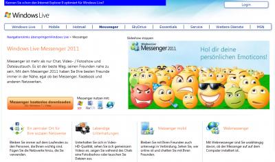 Die Webseite zum Windows Live Messenger 2011 ist noch online (15.01.2013)