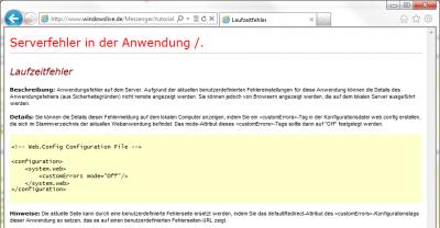 Selten zu sehen: ein echter Laufzeitfehler auf einem Microsoft-WebsServer