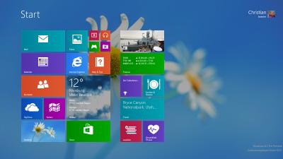 Startbildschirm mit Desktophintergrund