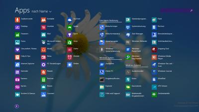 Die neue Liste 'Alle Apps' mit automatisch eingeblendetem Suchfeld
