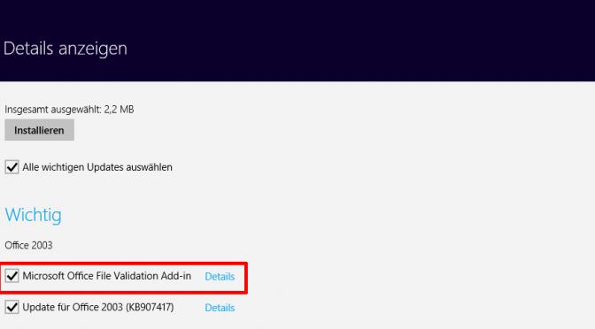 Office File Validation Add-In nicht installieren!