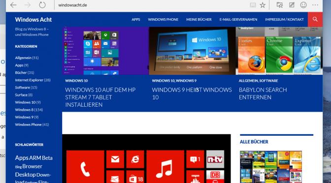 Windows 10 Build 10049 mit Spartan und großem scharfen s