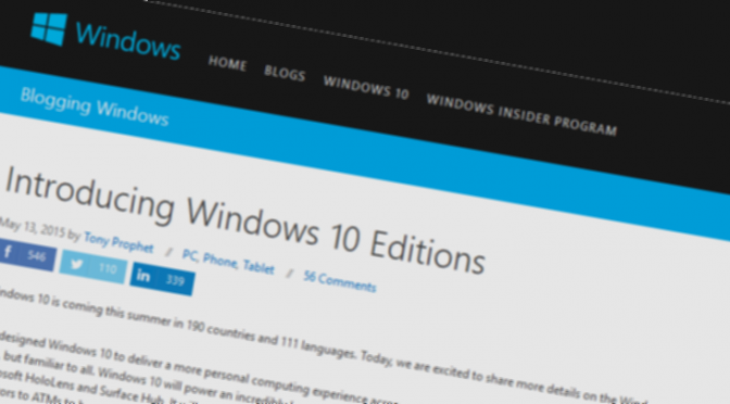 Windows 10 Versionen